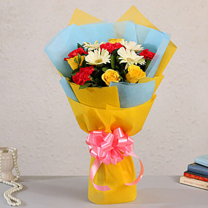 Mixed Flowers White Gerberas Bouquet:Flower Delivery Singapore
