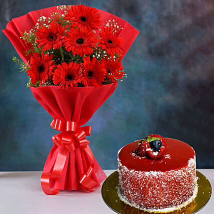 Red Elegance Gerbera Blossoms with Mini Cheese Cake
