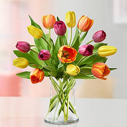 Heavenly Multicoloured Tulips Vase:Send Birthday Gifts to Singapore