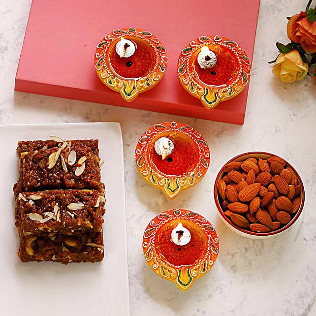 Designer Diyas With Almonds And Dhodha Burfi