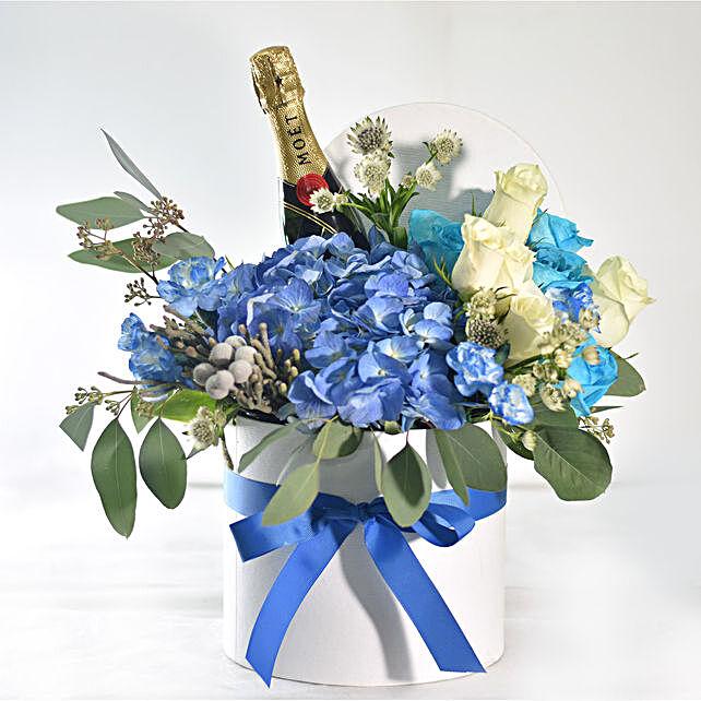 Vibrant Blue Floral Vase