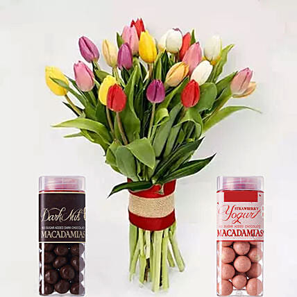 Vibrant Tulips Bunch And Macadamia Nuts