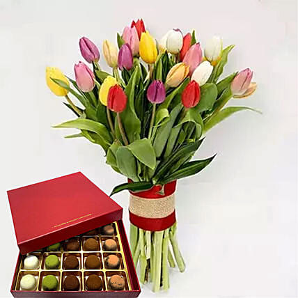 Vibrant Tulips Bunch And Sugar Free Truffles