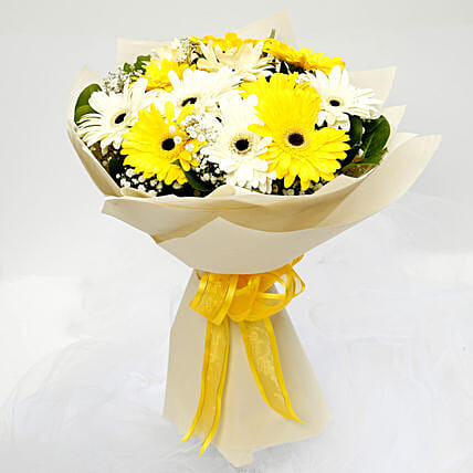 White and Yellow Gerbera Bouquet
