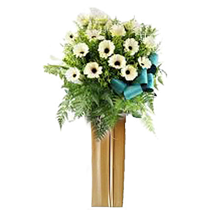 White Gerberas Flower Stand:Sympathy and Funeral Flower Singapore