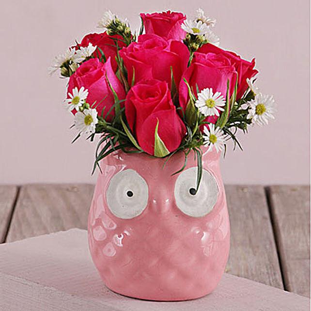 Cerise Roses In Ceramic Owl