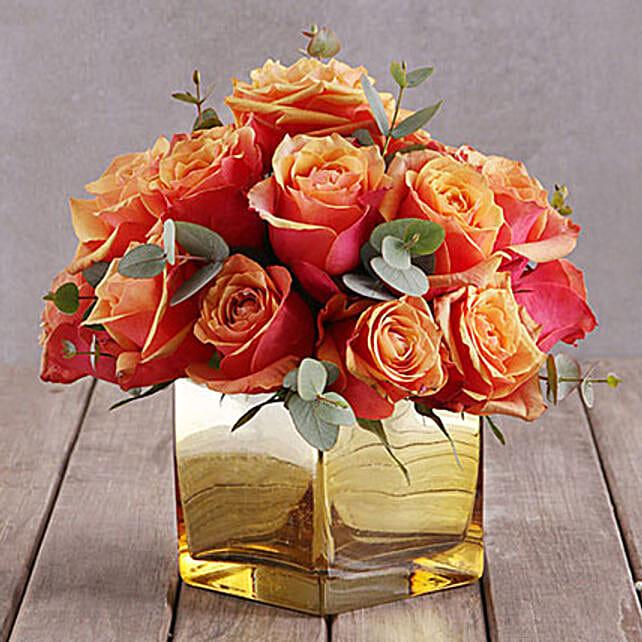 Cherry Brandy Roses In Gold Vase