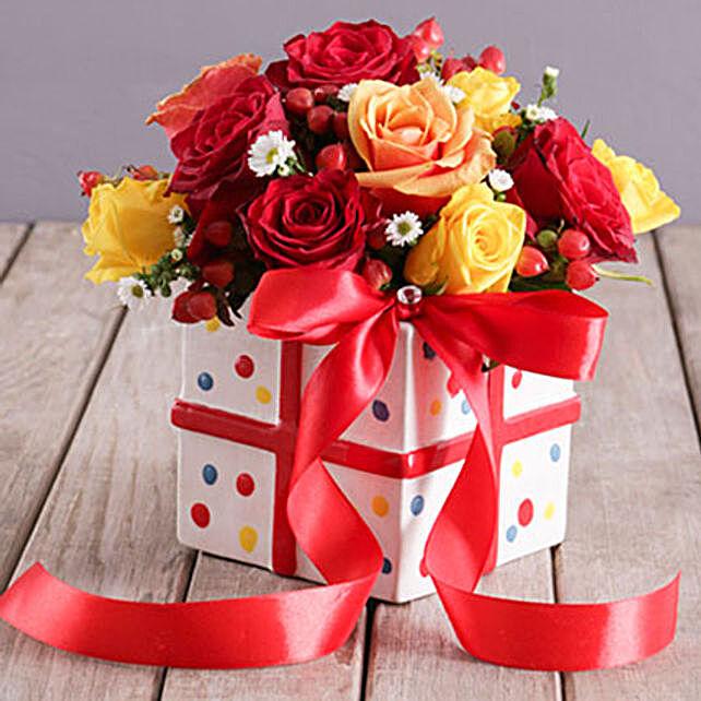 Mixed Rose Ribbon And Polka Box