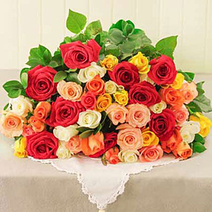 Mixed Roses in Cellophane