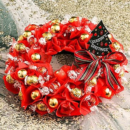 Red Lindt Christmas Wreath