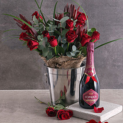 Red Roses And Moet Combo