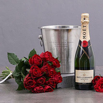 Red Roses Moet And Ice Bucket