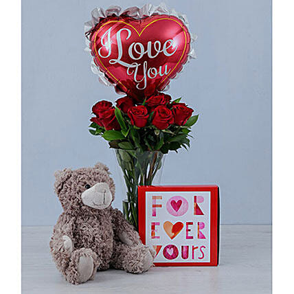 Teddy Balloon And Red Roses Gift