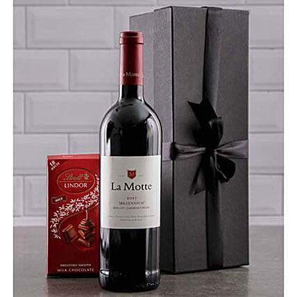 Wine And Lindt Chocolate Gift Combo:Send Gifts to South Africa