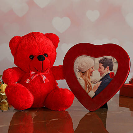 Red Heart Photo Frame And Cute Teddy:Gift Delivery in Spain