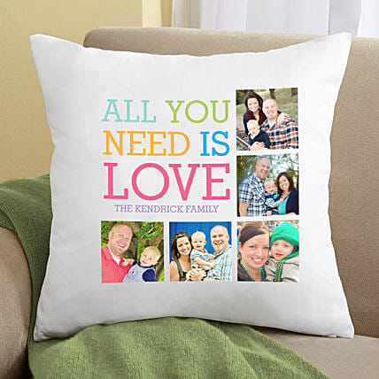 All You Need Is Love Personalised Pillow:Gifts to Sri-Lanka