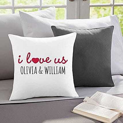 I Love Us Personalised Throw Pillow:Send Gifts to Sri Lanka