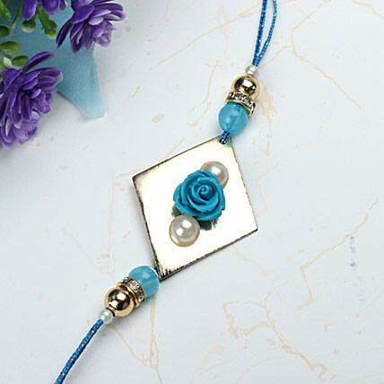 Blue Rose with Pearl Rakhi SRI