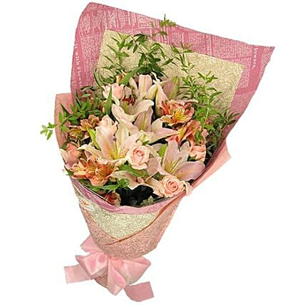 Beautiful Lilies And Rose Bouquet