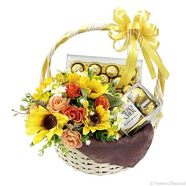 Yellow Hued Ferrero Rocher Chocolate Basket