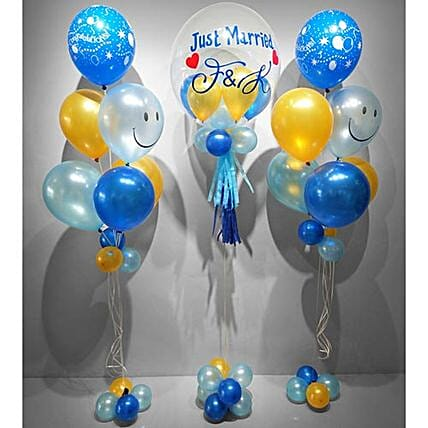 Personalised Just Married Balloon Set