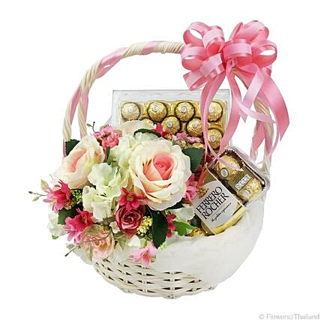 Pink Hued Ferrero Rocher Chocolate Basket