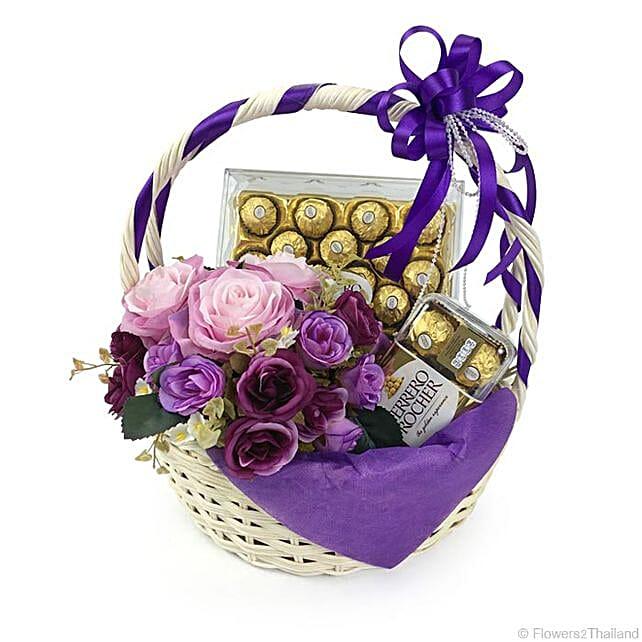 Purple Hued Ferrero Rocher Chocolate Basket