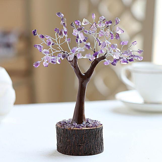 "Amethyt Gemstone Wishing Tree 7.5"""