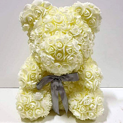 Artificial Milky White Roses Teddy