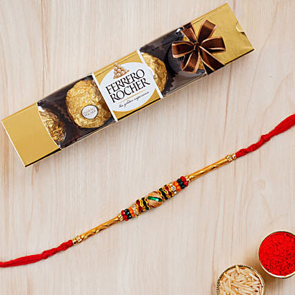 Beautiful Meena Thread Rakhi And 3 Pcs Ferrero Rocher:All Gifts