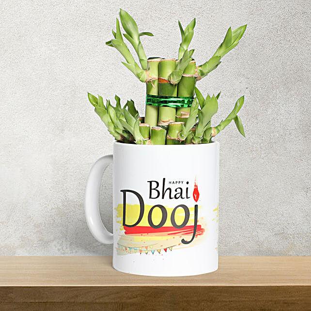 Bhai Dooj Mug with Bamboo Plant