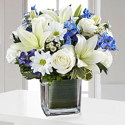 Blue and White Blooms Vase:Send Carnation Flower to UAE