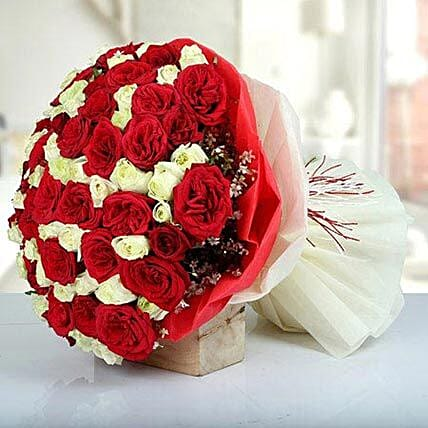 Bunch Of Red N White Roses
