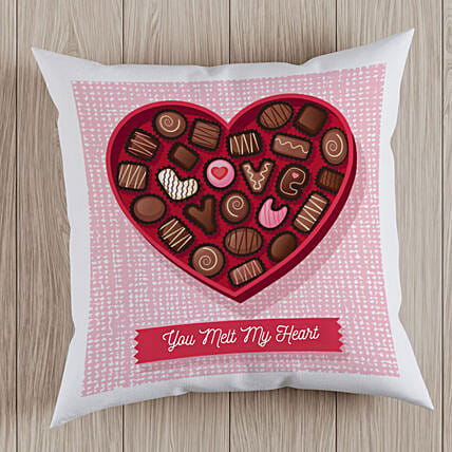 Chocolate Heart Printed Cushion