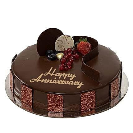 Chocolate Truffle Anniversary Cake:Send Corporate Gifts to UAE
