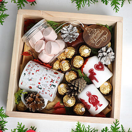 Christmas Wishes in Wooden Tray:Dubai Gift Basket Delivery