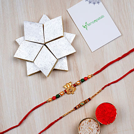 Combo 2 Designer Rakhis And Kaju Katli Box