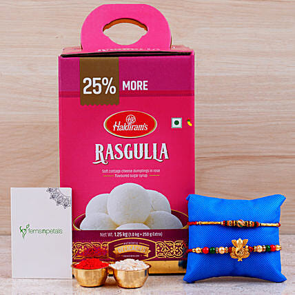 Combo Of 2 Rakhis And Rasgulla Tin