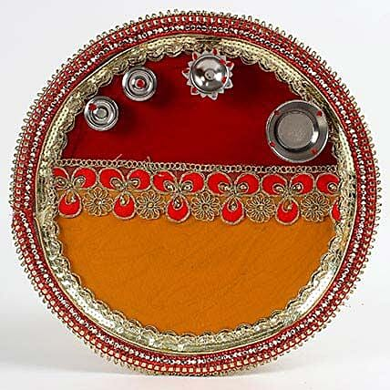 Decorated Red and Yellow Steel Pooja Thali