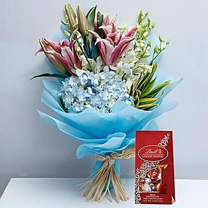 Delicate Flowers and Lindt Chocolate Combo