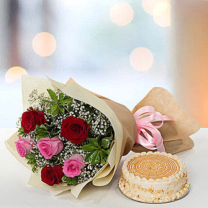 Delightful Roses Bouquet With Butterscotch Cake
