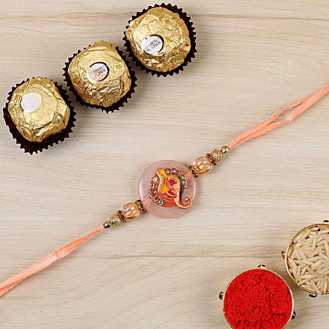 Divine Ganesha Rakhi And 3 Pcs Ferrero Rocher