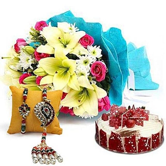 Elegant Bouquet with Cake N Rakhi