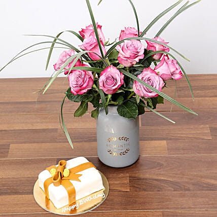 Elegant Purple Rose Vase and Mono Cake