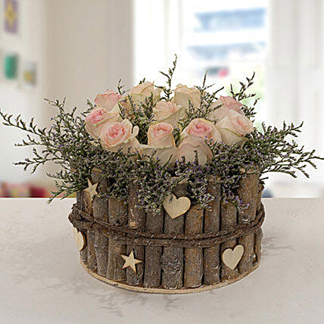 Enchanting Peach Rose Arrangement