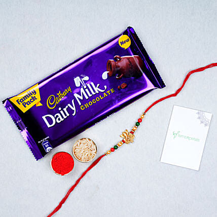 Fancy Ganesha Rakhi And Chocolate Combo
