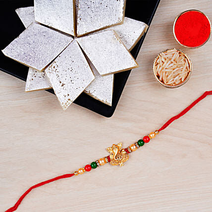 Fancy Ganesha Rakhi With Kaju Katli