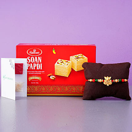 Fancy Ganesha Rakhi With Soan Papdi