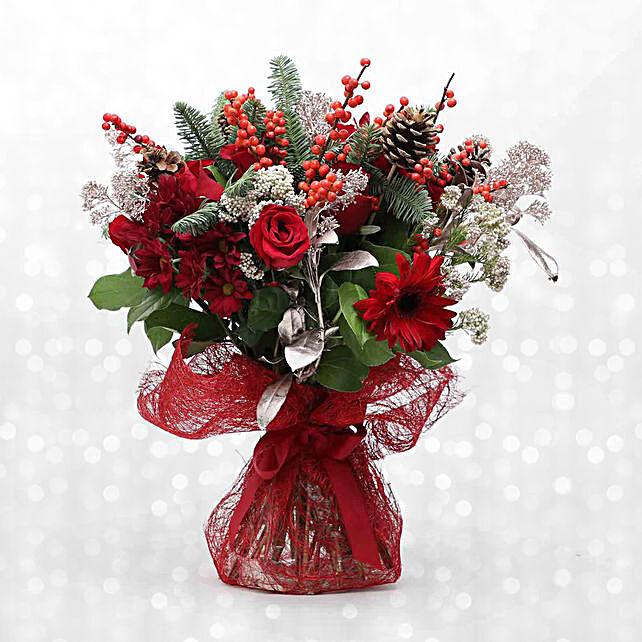 Festive Berries N Pines Bouquet