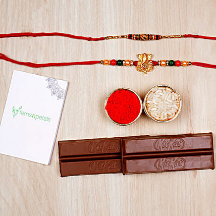 Ganesha And Meenakari Rakhi With Kitkat Chocolates:Send Ethnic Rakhi to UAE